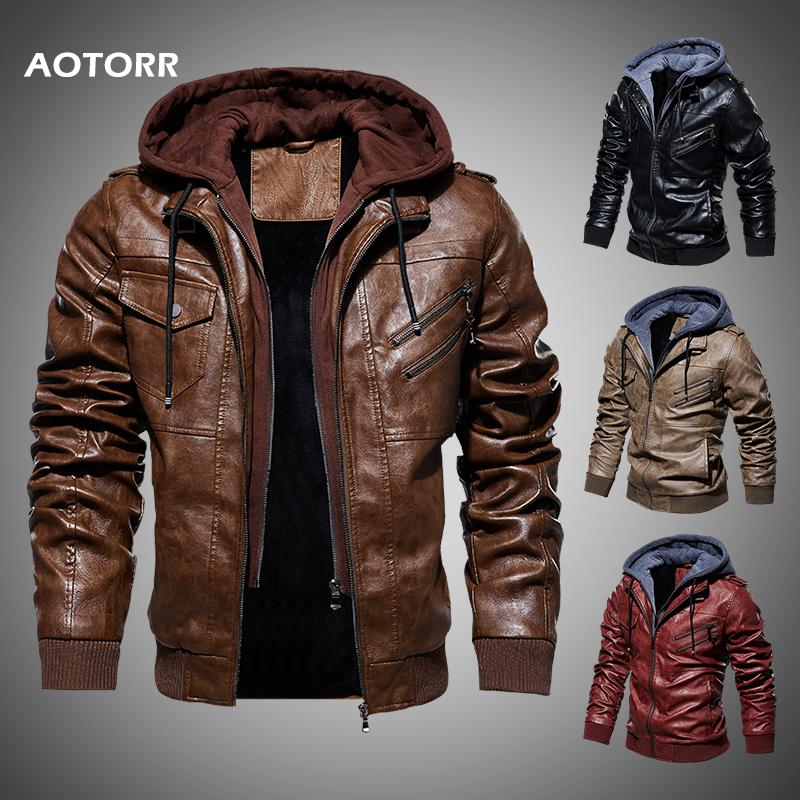 남성 가죽 자켓 겨울 가을 캐주얼 남성 오토바이 재킷 PU 코트 따뜻한 겉옷 지퍼 후드 코트 2019 새로운 남성 의류