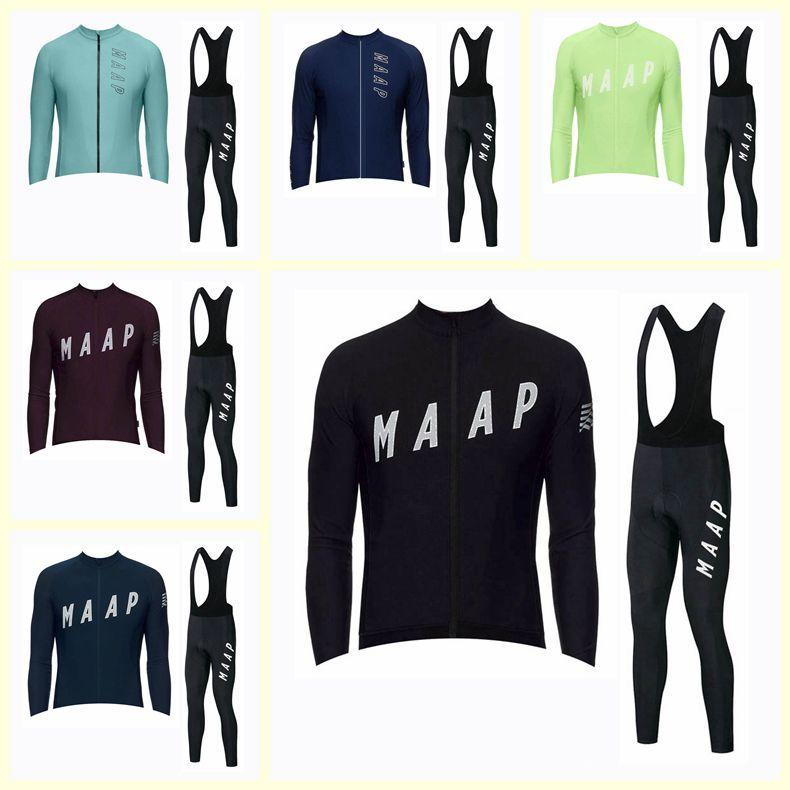 Equipo de Maap Ciclismo Mangas largas Jersey Pantalones de babero Conjuntos Hombres Ropa delgada Ciclismo Ropa de bicicleta MTB de secado rápido U120905