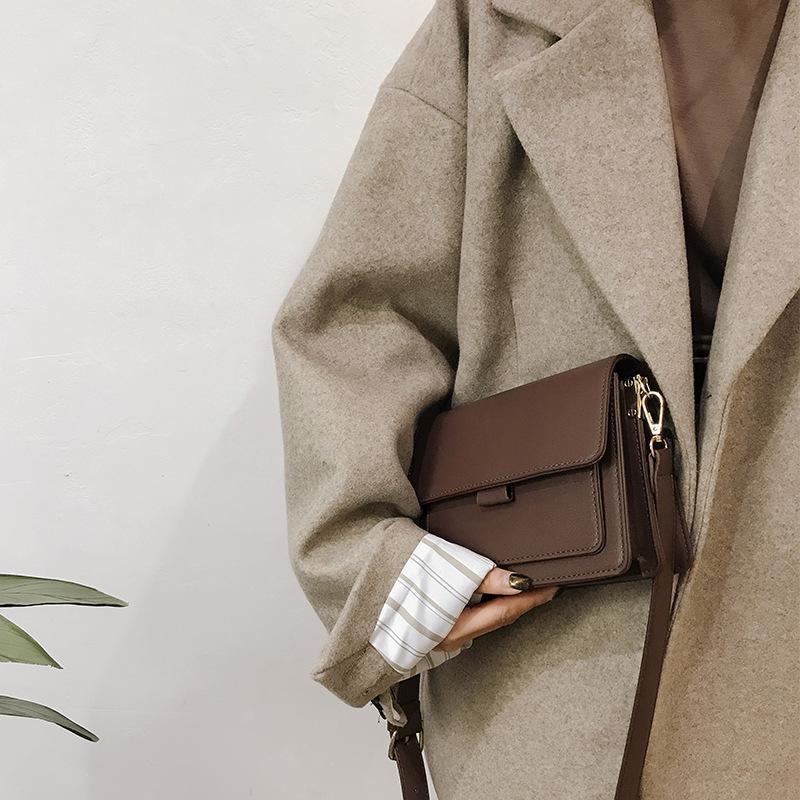 Hong Kong Stil Trend Textur messenger kleine quadratische Tasche 2020 neue Retro- Breitband eine Schulter Beutel der Frauen