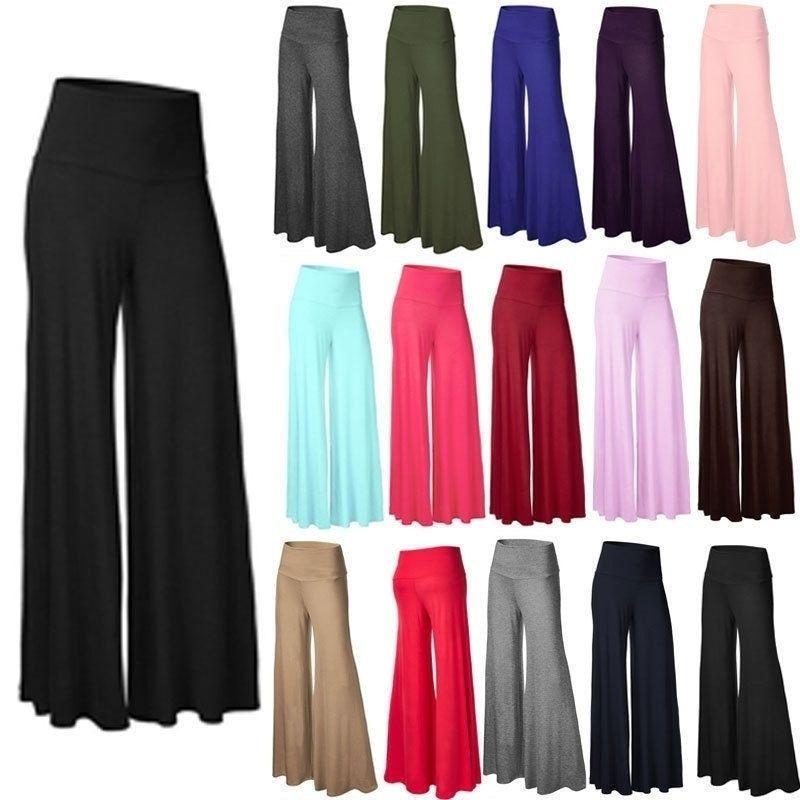 Женщины Брюки широкие ноги штаны Flared Брюки Legging Брюки Повседневный высокой талией Palazzo Flare Wide Leg Женщины Сексуальная одежда