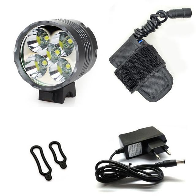 WasaFire 7000 LED Lumens vélo Lampe 5 * T6 LED Lampe frontale Lanterne vélo léger + phare 5200mAh Battery Pack 4 dernières heures