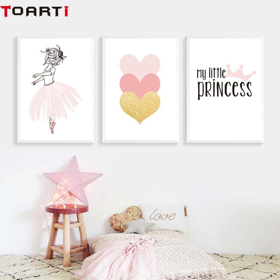 Розовые девочки Принцесса Корона Сердце плакат Печать Современные Home Decor Холст Картина Модульная стена Картина стены спальни Art Фрески