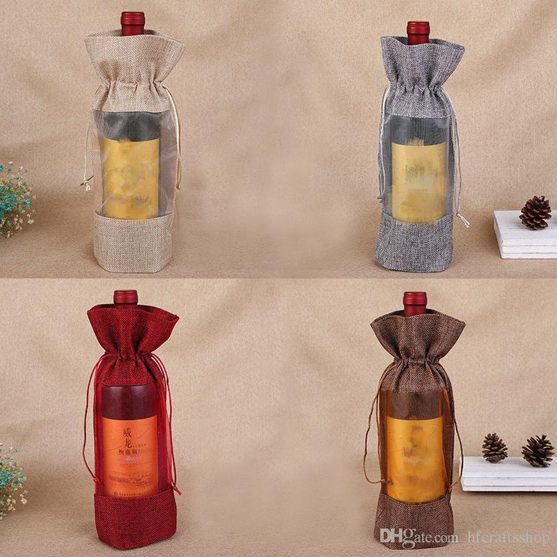 Clear Flax Jute Wine Bag 14x30cm Drawstring Wine Bottle Covers Christmas Gift Bag for Red Wine Champagne Storage Linen Burlap Jewelry Pouch