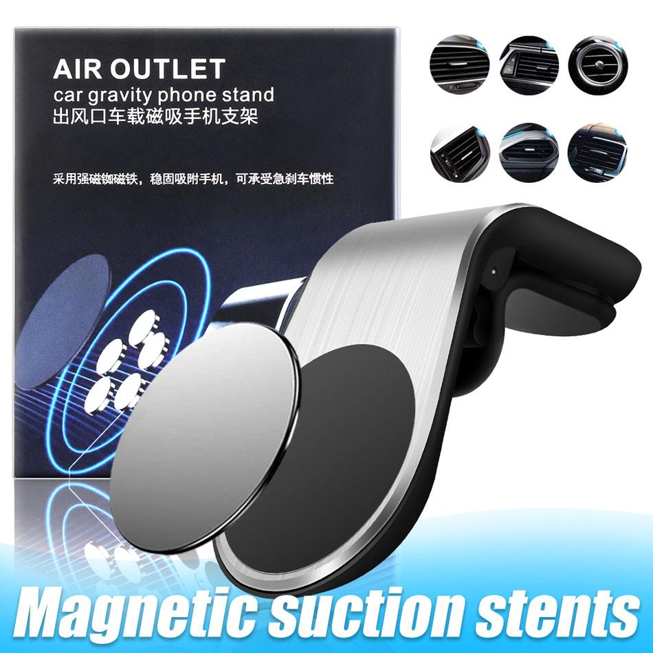 Magnetic Car Phone Holder L Shape Car Air Vent Clip Magnet Universal Cell Phone Bracket Stand in Box