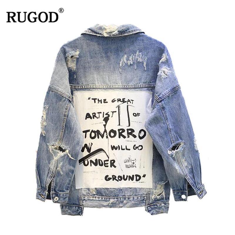 RUGOD 2018 nuevo de la vendimia impresión de la letra raída chaqueta de Jean mujeres otoño invierno rasgado agujero Denim capa femenina bombardero chaquetas Casaco