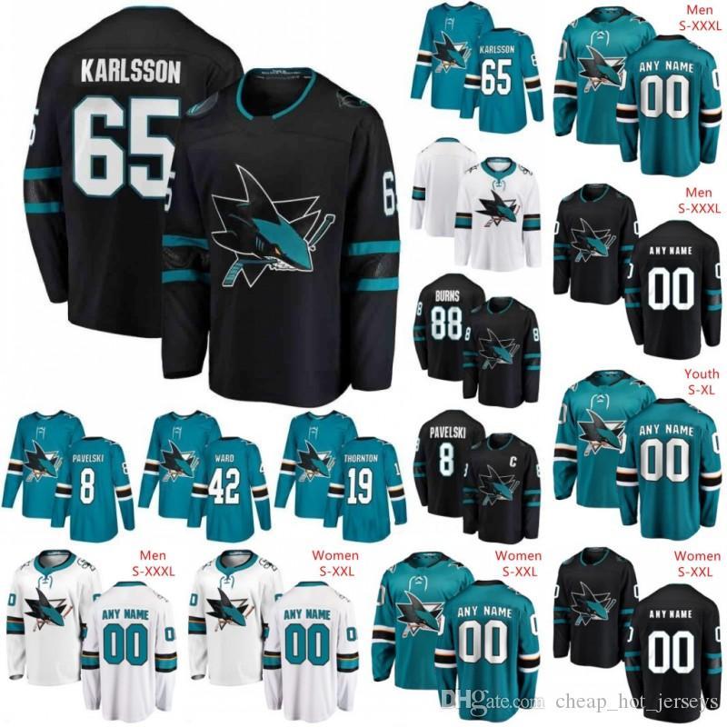 Personnalisé San Jose Sharks 2019 Noir Troisième Jersey N'importe quel Nom Numérique Hommes Femmes Jeune Enfant Blanc Turquoise Vert Vintage Burns Karlsson Kane Pavelski
