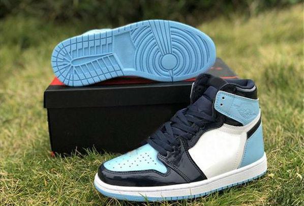 2020 Yeni Sürüm 1 Yüksek OG UNC Patent ASG WMNS 1S Obsidian Mavi Chill-Beyaz Basketbol Ayakkabı Sneakers