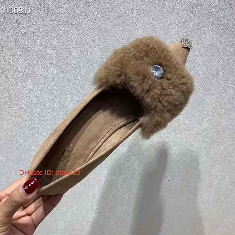fashion Ladies Peas Single Casual Shoes Imported Leather Metal Decoration Sheepskin Leisure Time Shoe