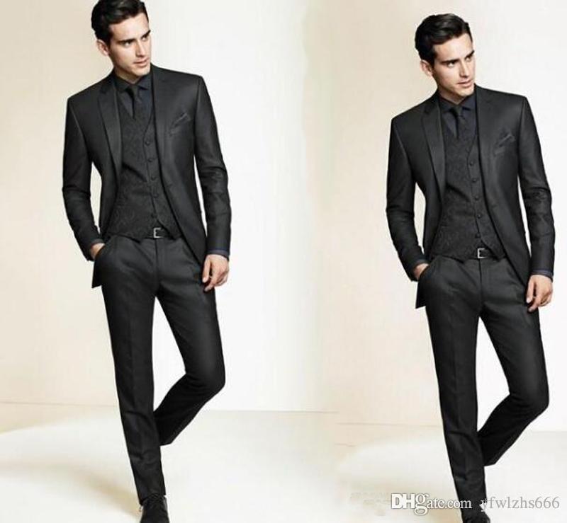 Classic Notch Lapel Wedding Tuxedos Slim Fit Suits For Men Groomsmen Suit Three Pieces Cheap Prom Formal Suits (Jacket+Pants+Vest+Tie) 635