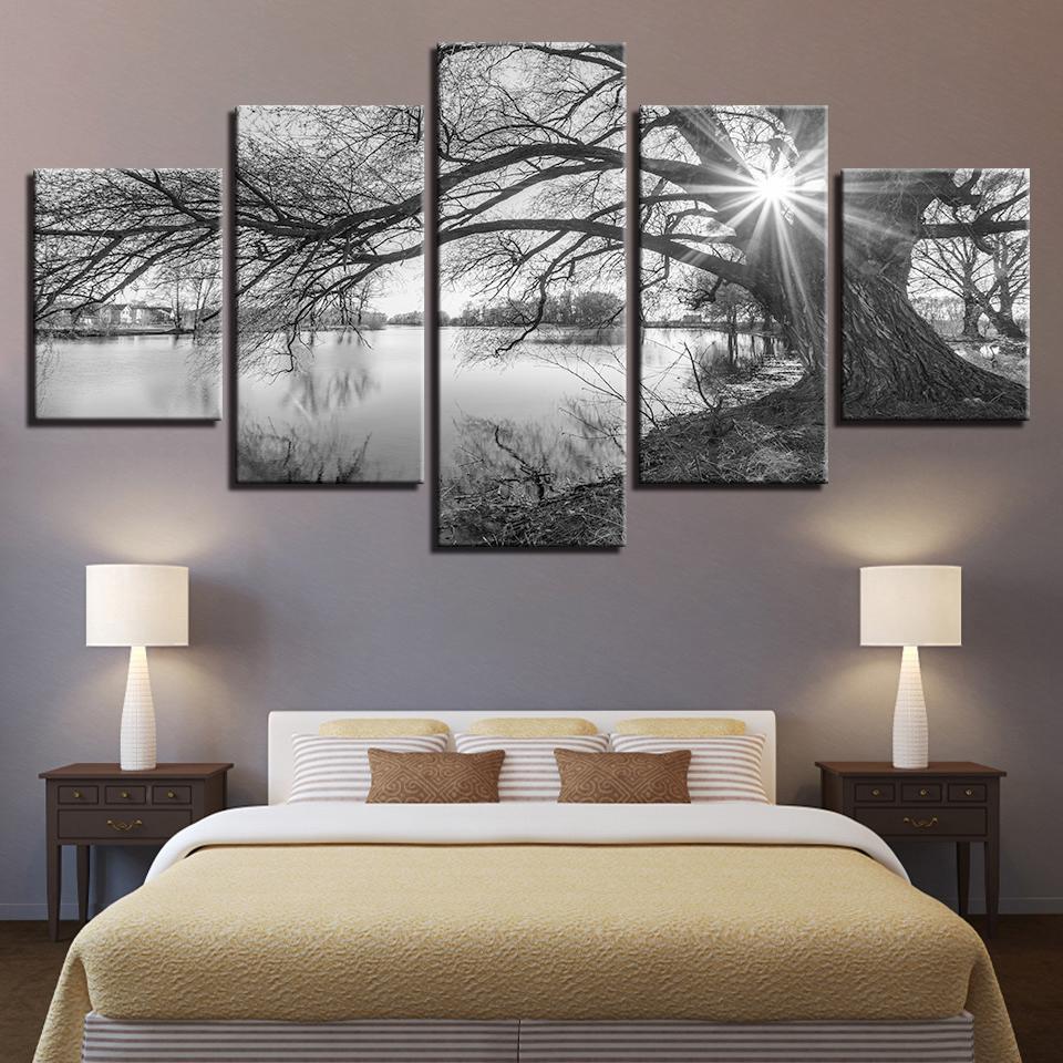 Arte de la pared 5 piezas lienzo cuadros para sala de estar póster marco lago grandes árboles pinturas negro blanco paisaje decoración del hogar