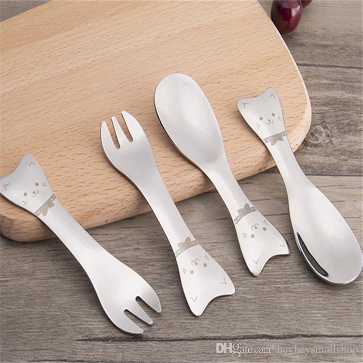 Bella del cucchiaio della forcella Set Cat Cucchiaio da bambino insieme della forcella in acciaio inox 304 Carino forcella del cucchiaio Set