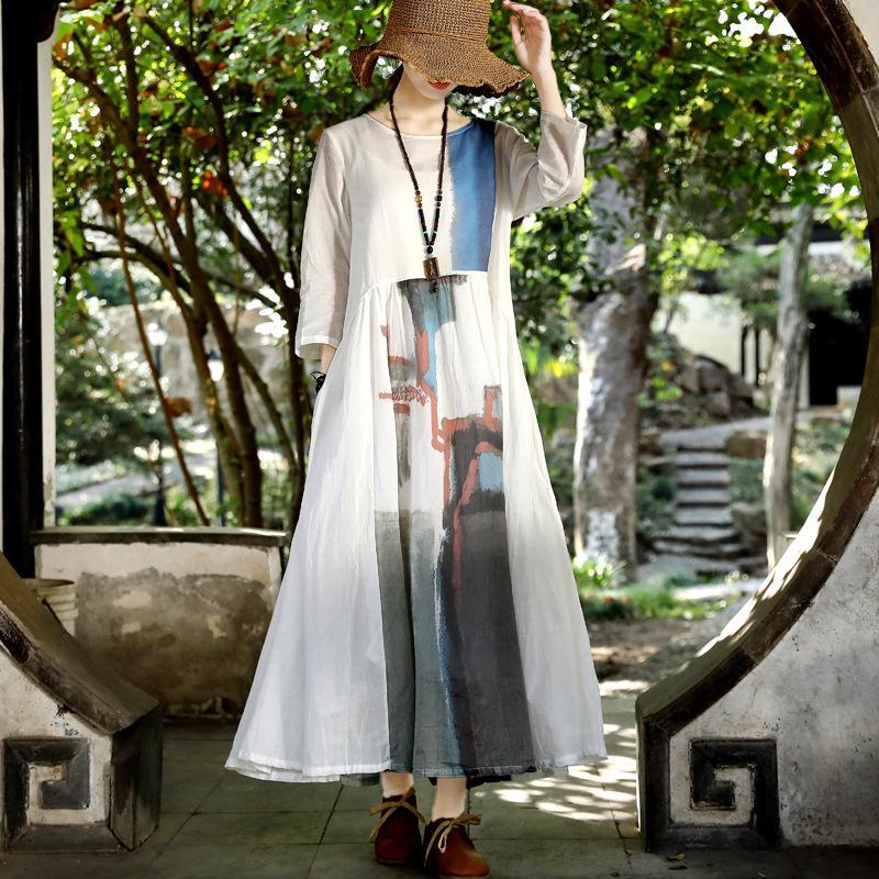 Hot vente 2020 printemps nouvelle robe de chanvre de coton style national jupe longue original de style chinois robe blanche