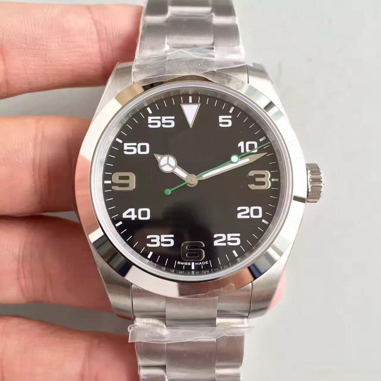 Montre AIR-KING série 40MM miroir saphir 116900 style mouvement mécanique automatique haute qualité bracelet en acier inoxydable 316L