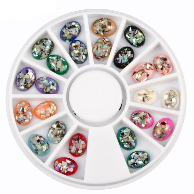 Nail Art Wheel Shell Sequins Rhinestone Glitter Flat Back Decoration Accessories Tips Design Manicure Tool Acrylic UV Gel Polish