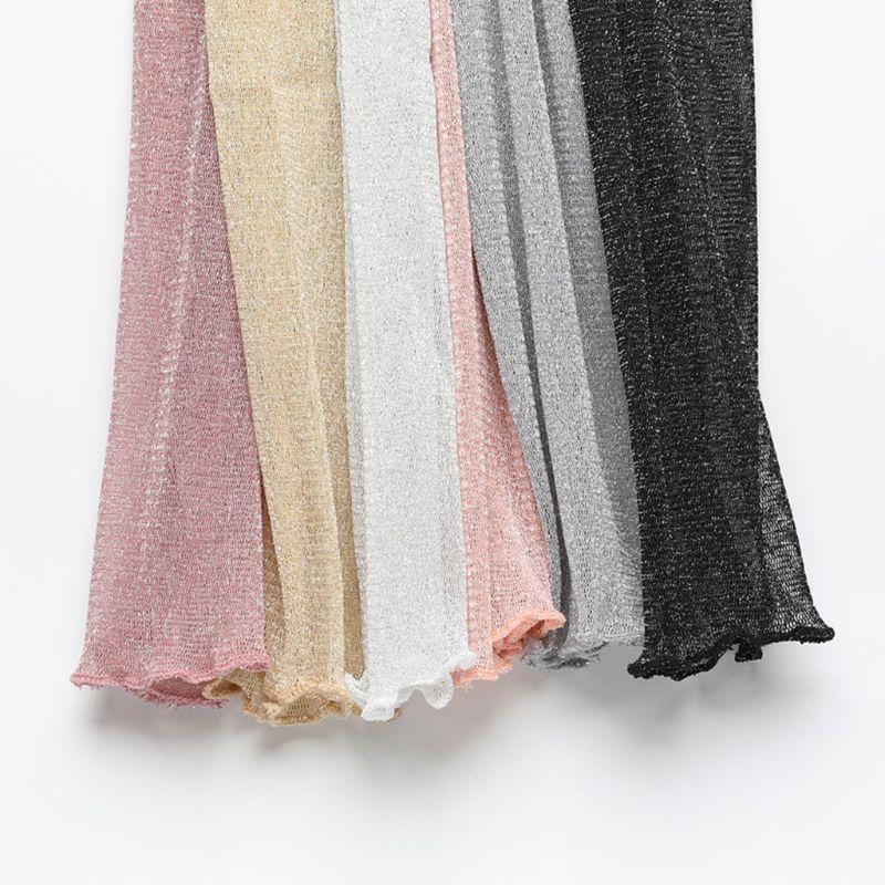 Femmes Filles Ultra-mince Sheer Gants Glitter Mesh long dentelle métallique Shimmer Protection UV Solide Couleur Bras Manches Volants Garniture D