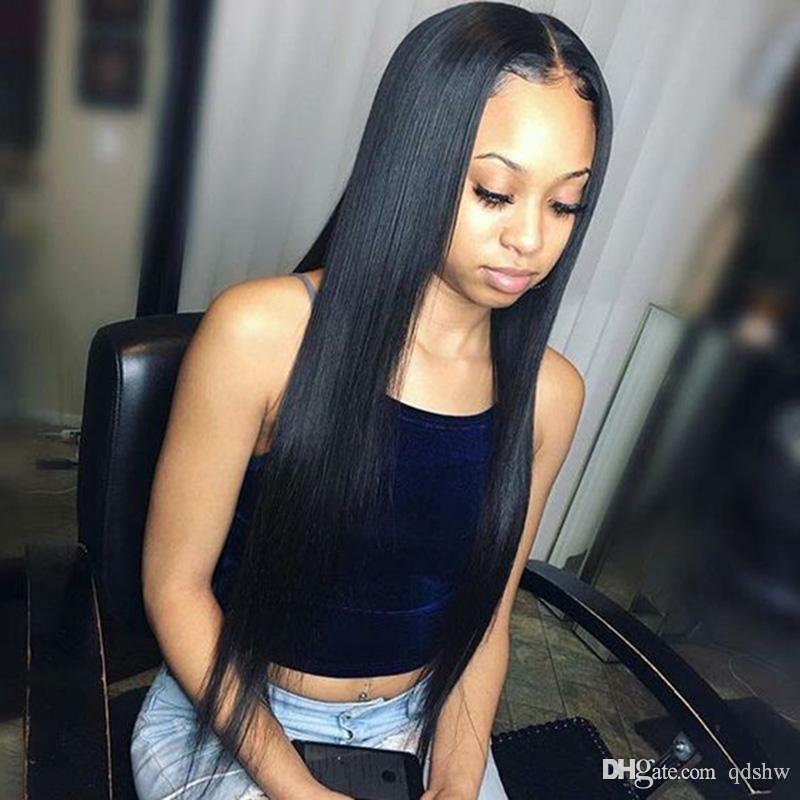 Virgin Remy Brésilien de dentelle perruques de cheveux humains Preplucked naturel Hétéro Brésil pas cher Glueless Lace Front perruques pour les femmes noires