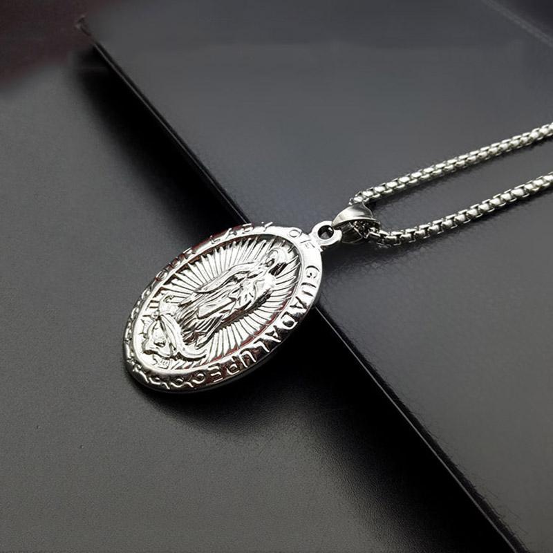 Color plata de acero inoxidable accesorios religiosos sagrados Virgen María colgante collar para mujeres niñas Colar nuestra señora joyería