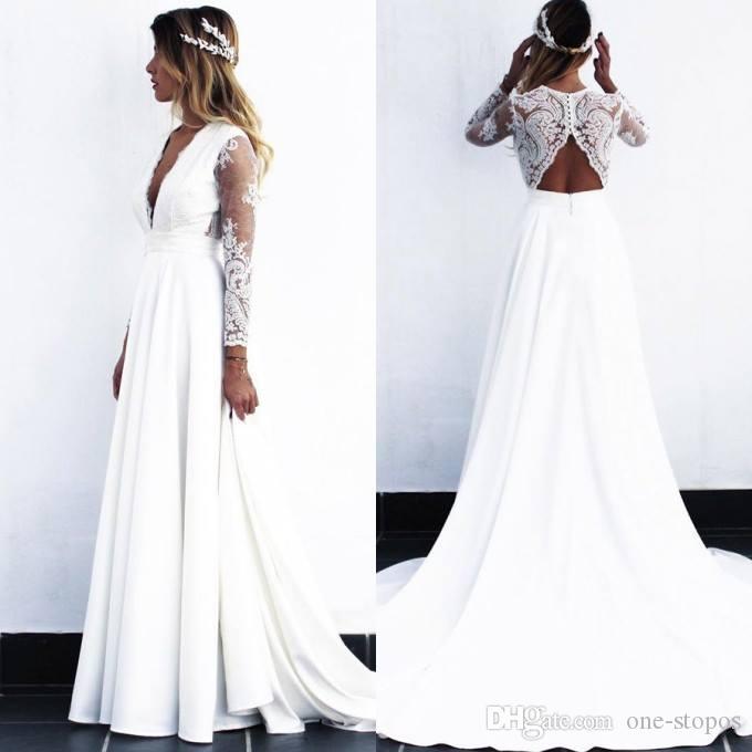 2019 новое кружевное свадебные платья белый / слоновая слоновая линия длинный рукав boho свадебное платье пляж v шеи плюс размер свадьбы
