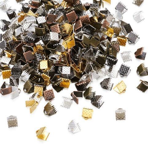 Новые 500шт 6 мм DIY ювелирные изделия шнур концы и концы ленты-обжимные концы в Серебряном золоте бронзовые зажимы разъемы лента для DIY браслет выводы