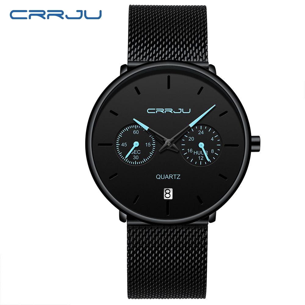 Herren Designer-Uhren CRRJU voller Stahl beiläufige wasserdichte Uhr für Mann-Sport-Quarz-Uhr-Männer Kleid-Kalender-Uhr Relogio Masculino