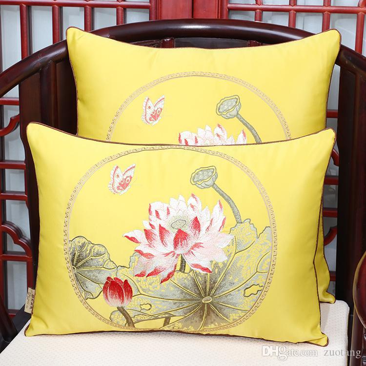 Las últimas Lotus Peony tela de lujo Cojín Funda de almohada de Navidad la decoración del hogar del sofá Silla de estilo chino lumbar almohada cubierta