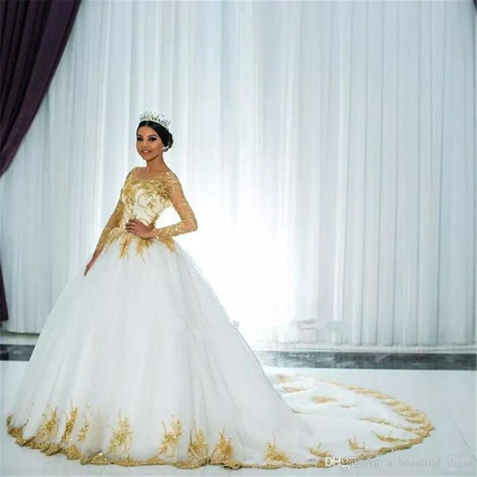 Gold Appliques Brautkleider Langarm Sparkly V-Ausschnitt schnüren sich oben wulstige Spitze Ballkleid Brautkleid Brautkleider Vestido de Novia