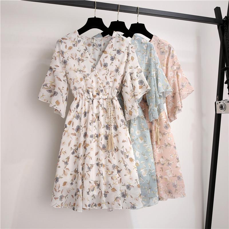 2020 Chiffon Spring Summer Dress Women Elastic Waist V-neck Print Fresh Sweet Ruffle Sleeeve Floral Slim Drawstring Vestidos