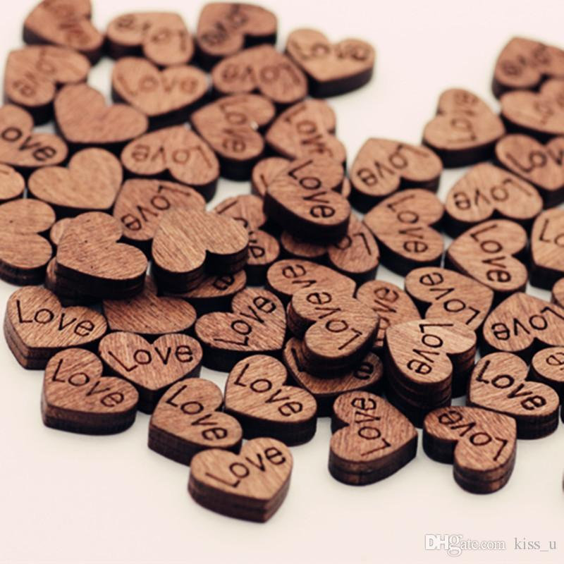100pcs Love Heart Shape Wood Wooden Craft For Wedding Table Home Decor DIY Birthday Decoration Party Favor Scrapbooking