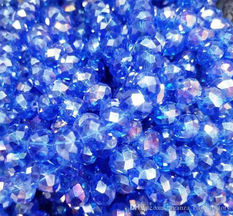 100pcs / lot contas de 4 mm ROYAL AZUL cristal facetado rondelle espaçador Jóias fazendo DIY