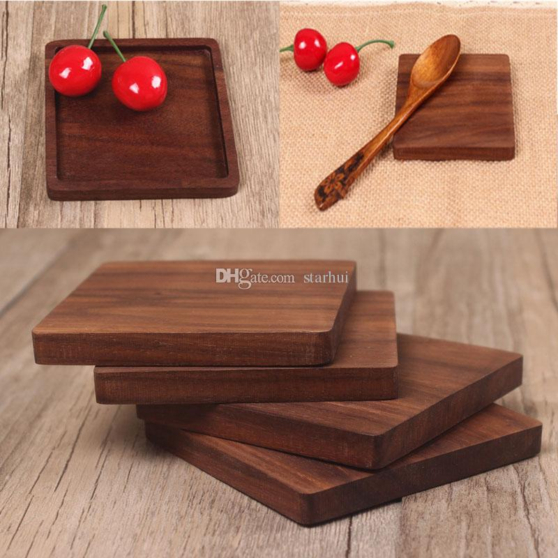 Solid Wood Coasters Coffee Tea Cup Pads Insulated Drinking Mats Black walnut Teapot Table Mats home desk Mats Decoration WX9-1486