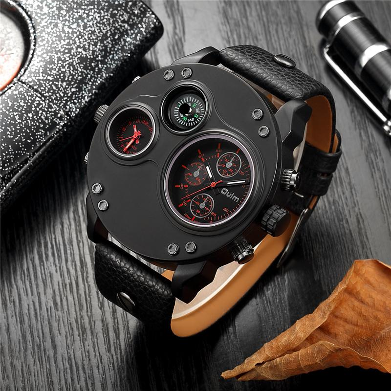 Oulm Unique New Sport Watches for Men Luxury Brand Casual PU Leather Military Watch Male Decorative Compass Quartz Clock Man LY191213