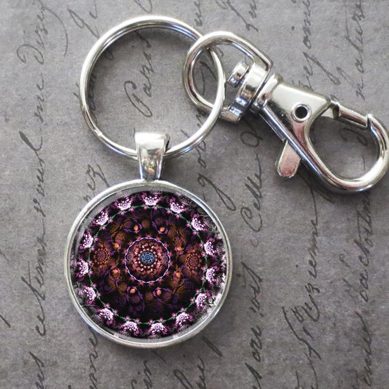 Успокаивающий Art Mandala Key Ring брелок Пряжка стекло подвеска Кристалл День рождения Фестиваль Anniversary подарка Ювелирные аксессуары