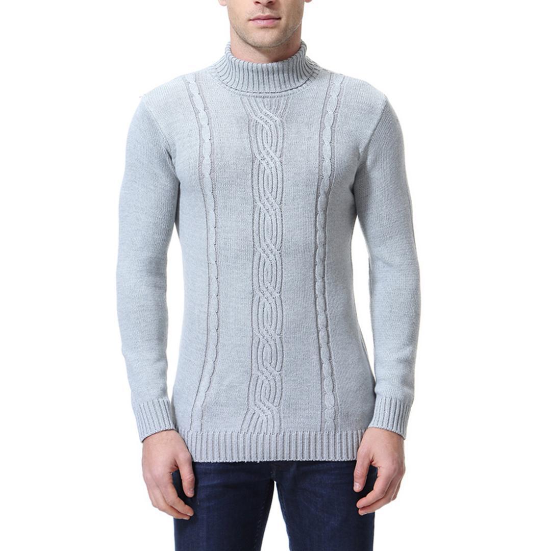 Frühling und Herbst 2019 Datum grauen Farbe M-XXL-Größen Herren Pullover mit Stehkragen Pullover Herren Strickpullover Solid Color Kleidung