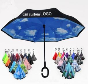 Folding Reverse Umbrella Double Layer C Handle Umbrellas Unisex Inverted Long Handle Windproof Rain Car Umbrellas Gifts 56 Colors