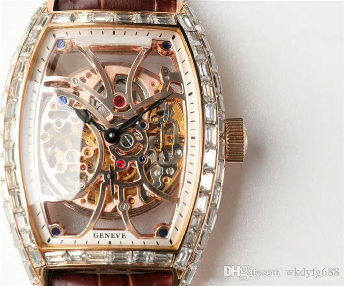 UF Factory Skeleton Complex Function Baguette Diamond Mens Watch 39.5mm Automatic Guilloché work 7 day Power Reserve Sapphire Crystal Swiss