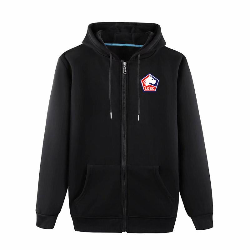 Lille OSC Soccer ceketler Futbol Formalar Spor eğitim ceket Moda Leisure kapüşonlu ceketler Uzun kollu Futbol ceketler Fanlar Tops
