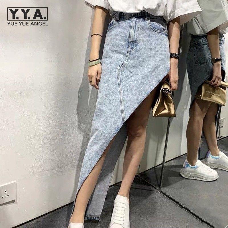 Summer Fashion Personalidade assimétrico de cintura alta Denim Skirt Feminino New High Street Casual afligido A-Line Jean Short Skirt