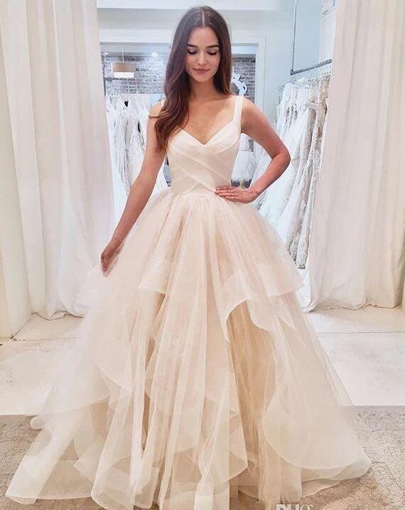 Cinghia di spaghetti principessa abiti da sposa 2020 pallone fatto nuovo di vendita caldo su misura abito increspato di Tulle Abiti da sposa Paese Vestido De Noiva W804