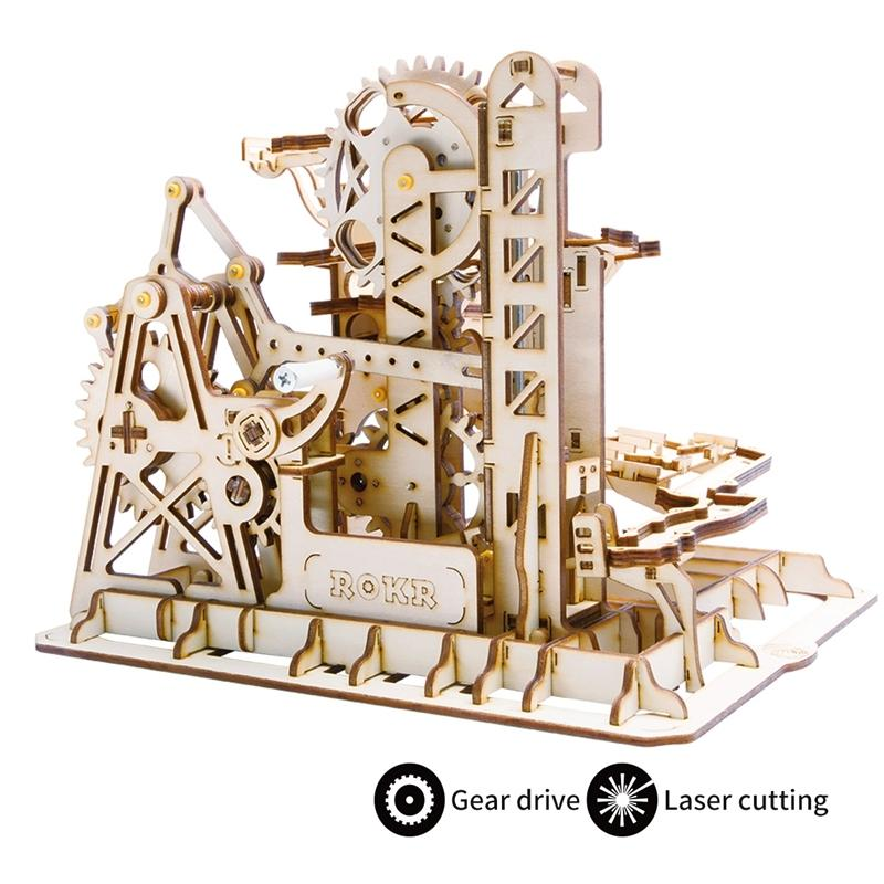 Robotime DIY Waterwheel Quaser / Wooden Model Building Closes Assembly Toy / 4 Kinds Marble Run Game For Children Adult Lg Y200413