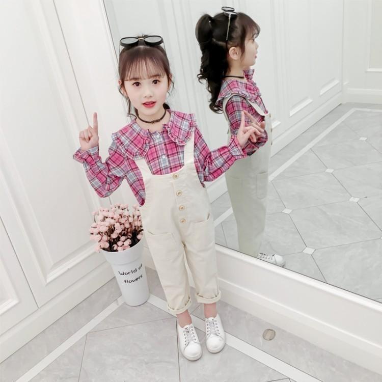 Menina do outono em grandes crianças Pure Cotton Flor Malha Filho shirt macacãozinho fato de duas peças Set 0201
