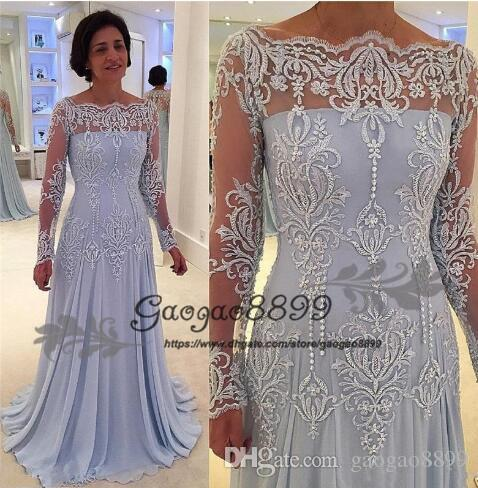 New Long Sleeves Formal Mother Of The Bride Dresses Off Shoulder Appliques Lace Pearls Mother Dress Evening Gowns Plus Size Customized