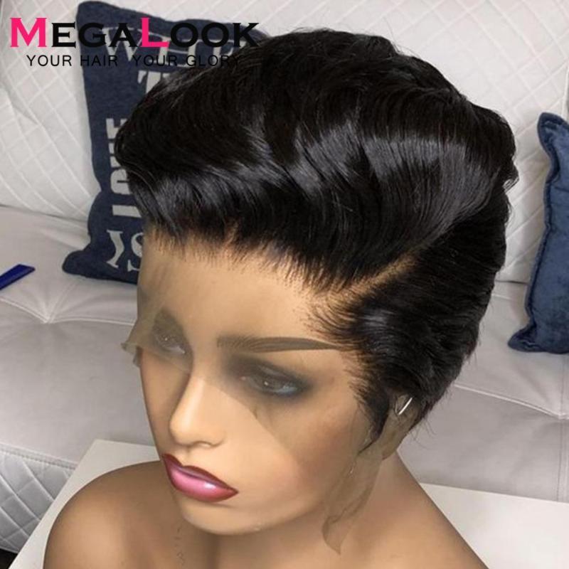 Pixie corte peruca dianteira peruca de cabelo humano peruca brasileiro perucas dianteiras de renda em linha reta para as mulheres 180 Cabelo humano Glueless Short Wigs