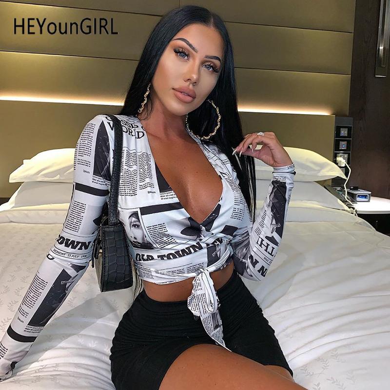 HEYounGIRL periódico impreso cuello en V camiseta atractiva de las señoras Implique de manga larga camiseta de las mujeres de cultivos flaco Moda Tee Shirts Streetwear V200403