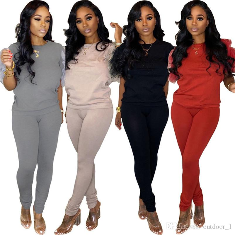 Women ruffle sports t-shirt leggings tracksuit 2 piece set shirts crew neck jogger suit pullover fall winter casual clothes sell DHL 2563
