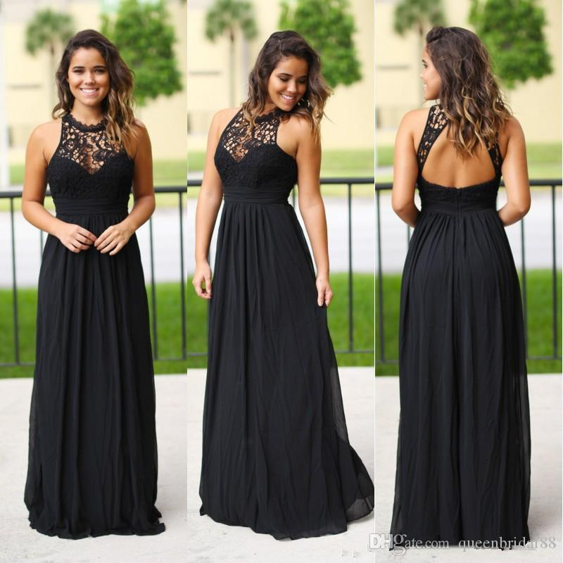 2019 Cheap Long Black Chiffon A Line Bridesmaid Dresses Crew Neck Lace Backless Maid of Honor Dress for Bride