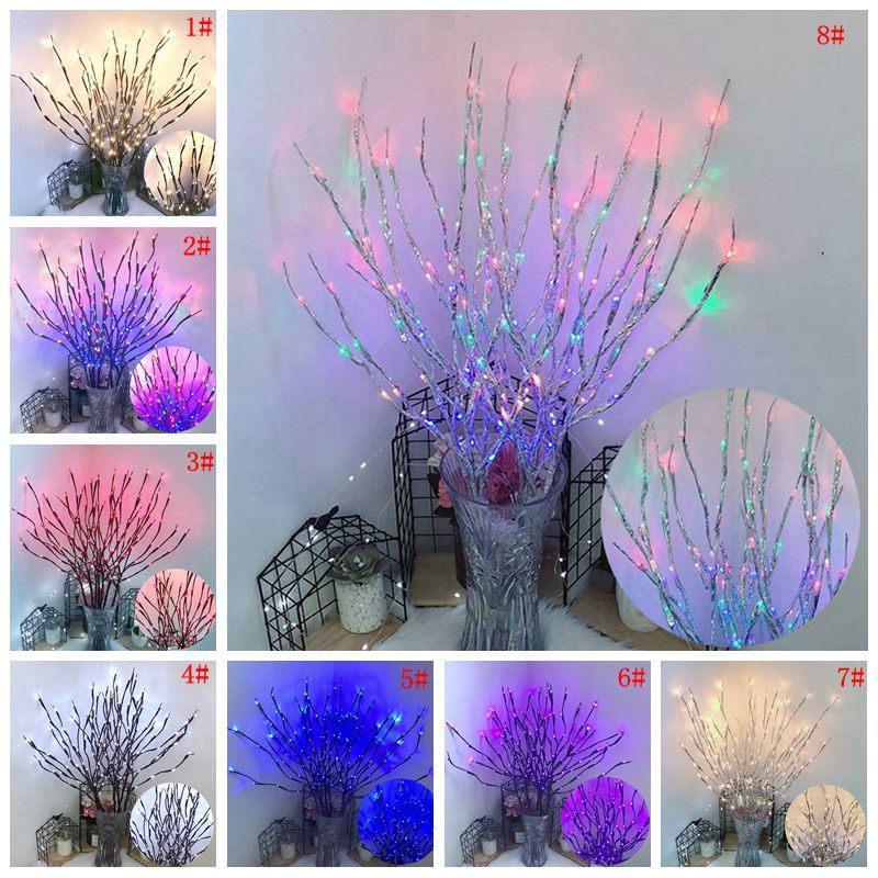 LED 버드나무 분지 램프 20 전구 배터리 전원을 사용하는 가벼운 끈 화병 충전물 버드나무 나뭇 가지 빛 분지 가정 당 크리스마스 훈장 DBC VT0372