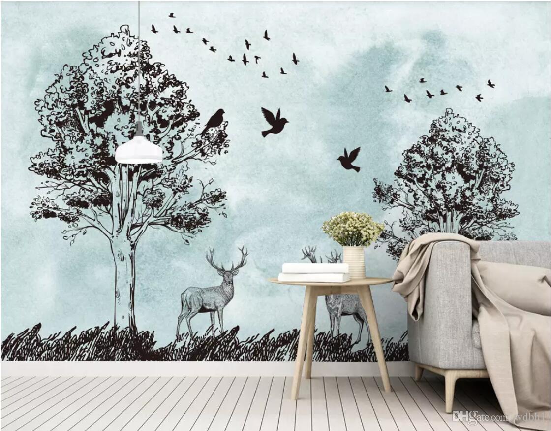 3d обои на заказ фото фрески нордический небольшой свежий лес силуэт лося идиллический фреска тв фоне стены стены искусства