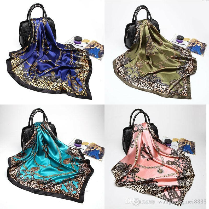 Новые леопардовые шарфы женские девушки шелковый атлас квадратные шарфы офис мода глава Шаль 5 цветов мода горячая