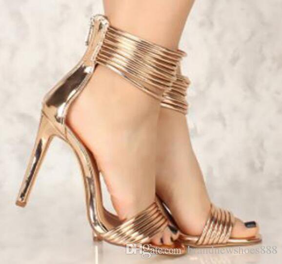 Женщины Лето Повседневная Высокие Сандалии Кожа Металлические Украшения Молния Лодыжки Wrap Обувь Досуг Плюс Размер Женский