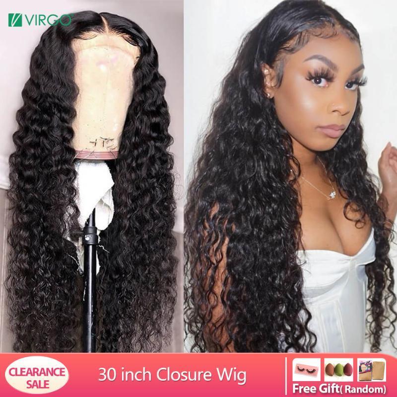 Jungfrau Water Wave 4x4-Spitze-Schliessen-Perücke mit Baby-Haare für schwarze Frauen-Spitze-Front-Perücke 150% Remy Haar gebleicht Knoten 10-30 Zoll